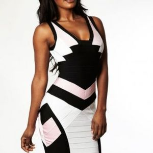 Dresses & Skirts - Cheap Herve Leger V Neck Black White Bandage Dress